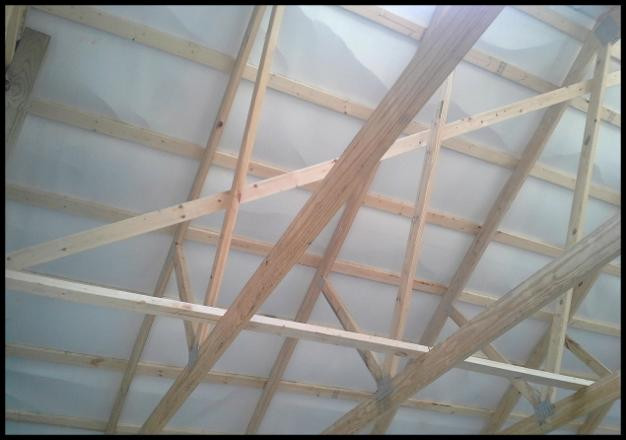 Diagonal Amp Lateral Bracing Used To Support Roof Trusses